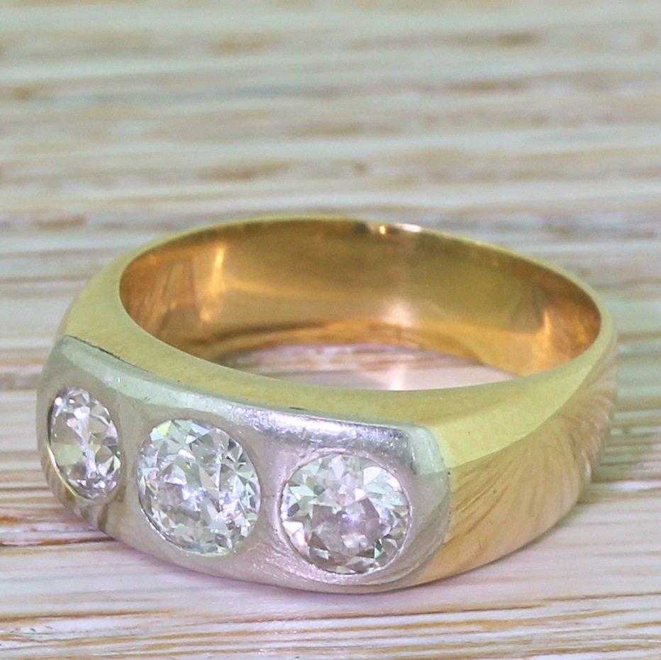 c0e22d22eeb45 Edwardian 1.55 Carat Old Cut Diamond Trilogy Ring, circa 1905