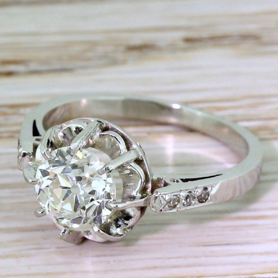 art deco 130 carat old cut diamond engagement ring french circa 1920