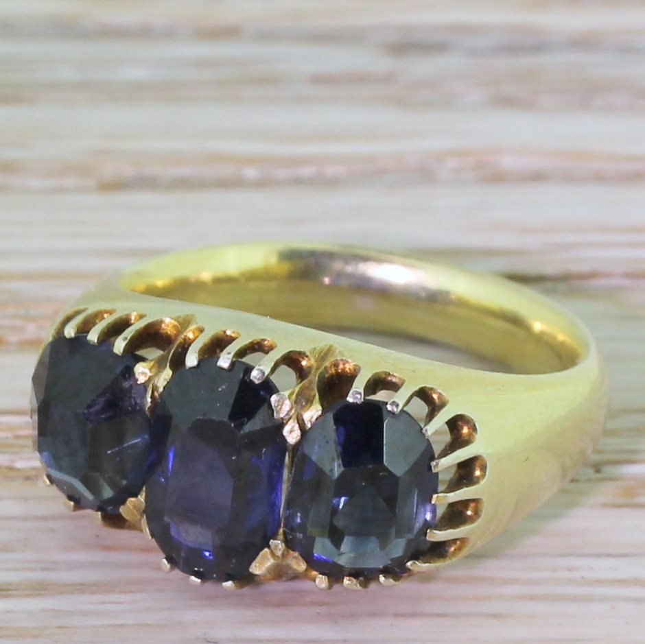 victorian 350 carat natural burmese sapphire three stone ring circa 1880