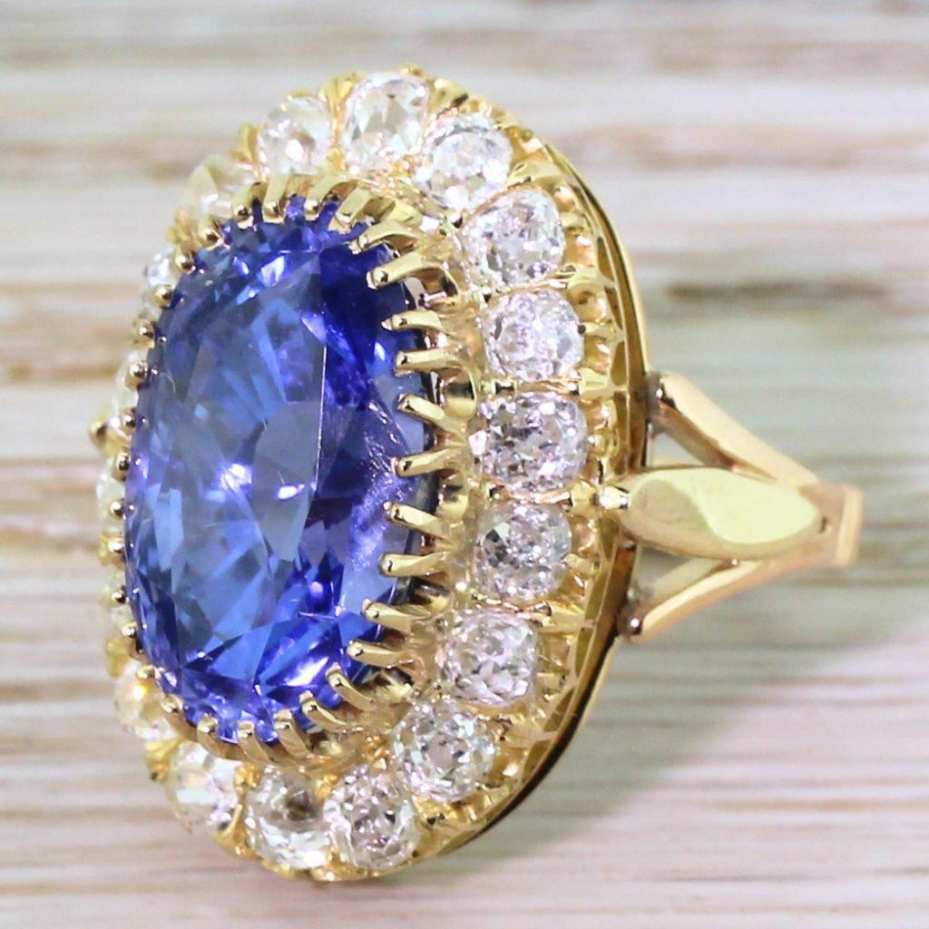 edwardian 1044 carat natural ceylon sapphire 038 old cut diamond cluster ring circa 1905