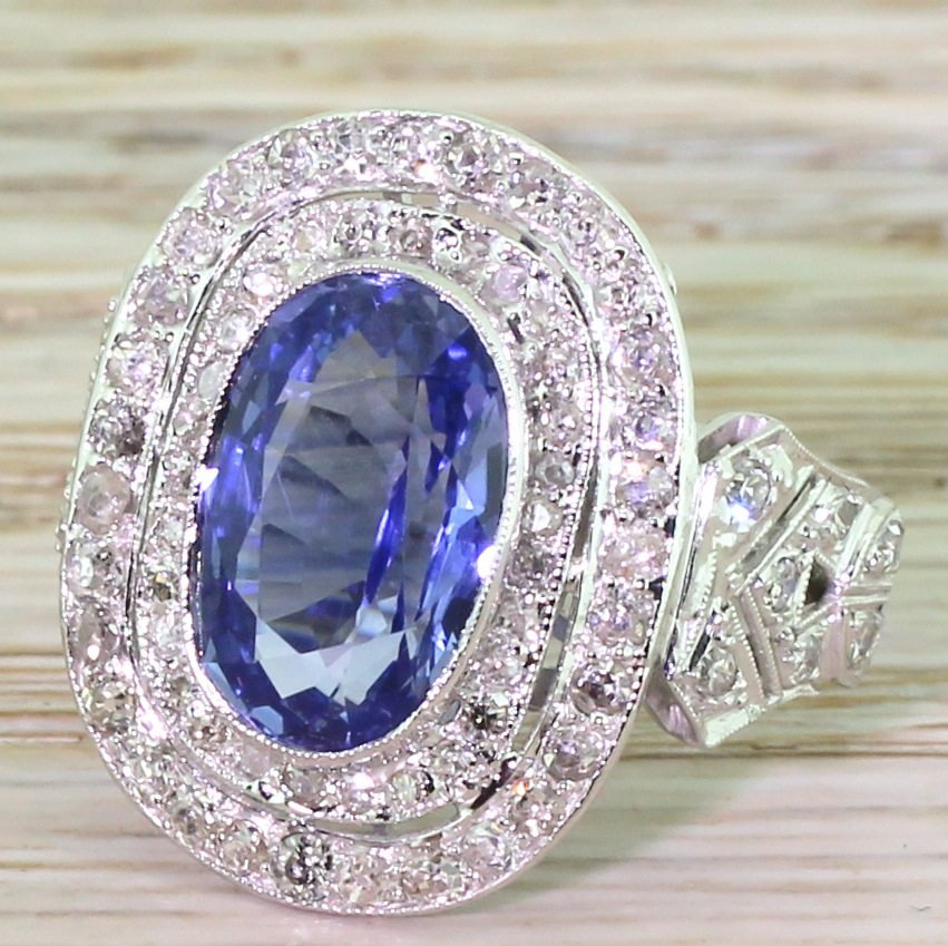 retro 522 carat ceylon sapphire 038 diamond double cluster ring circa 1960