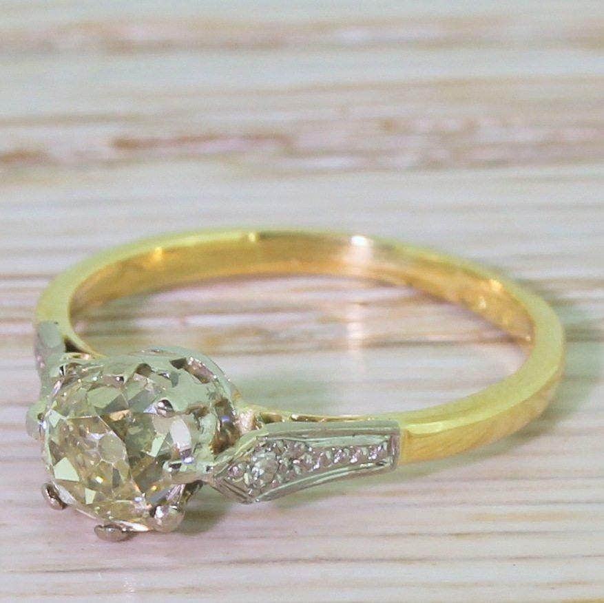 art deco 103 light yellow old cut diamond engagement ring circa 1920