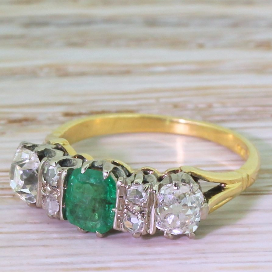 art deco emerald 038 old cut diamond three stone ring circa 1935