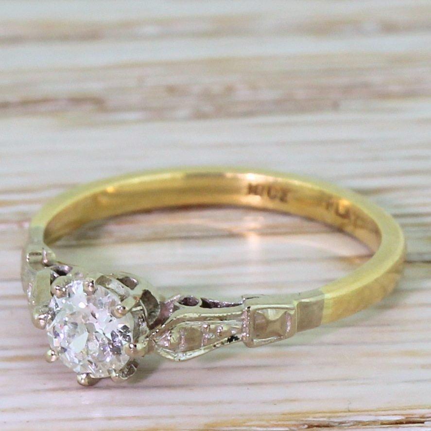art deco 036 carat old cut diamond engagement ring circa 1925