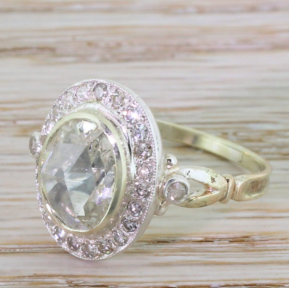 victorian 219 carat rose cut diamond cluster ring circa 1890
