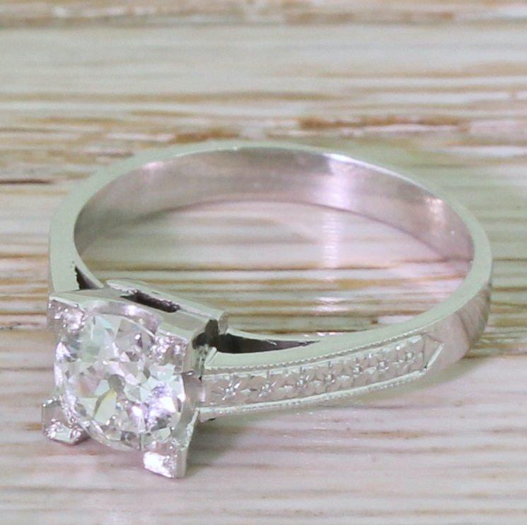 art deco 071 carat old cut diamond engagement ring circa 1930