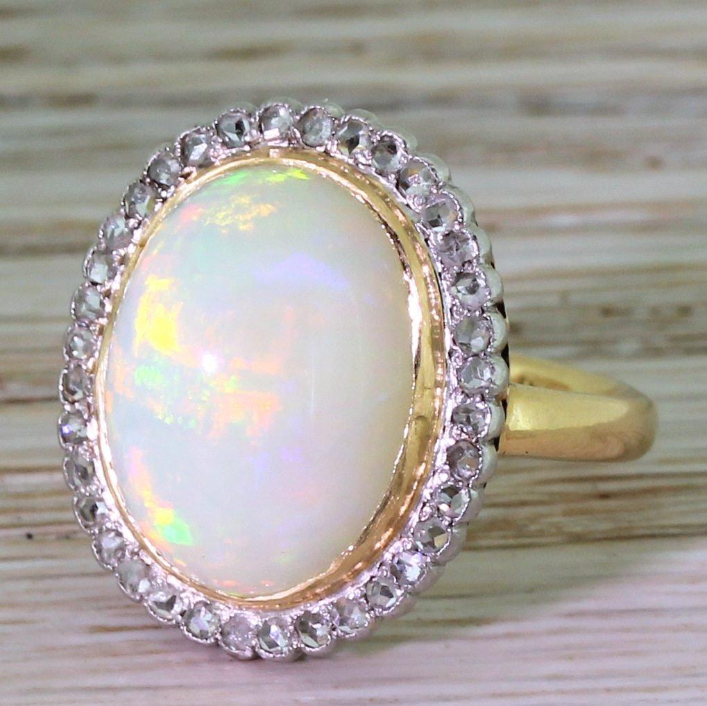 art deco 700 carat opal 038 rose cut diamond cluster ring circa 1915