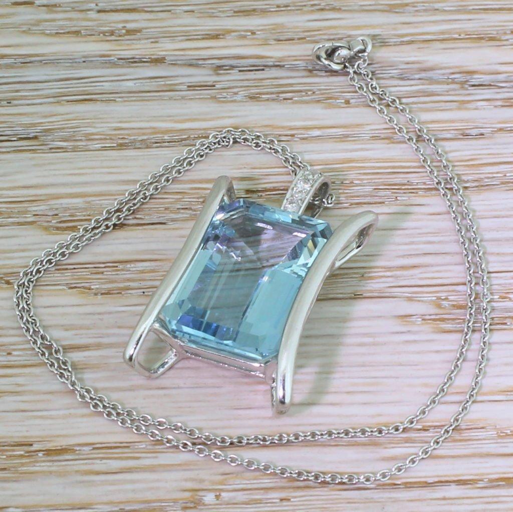 mid century 2700 carat octagonal cut aquamarine pendant circa 1965