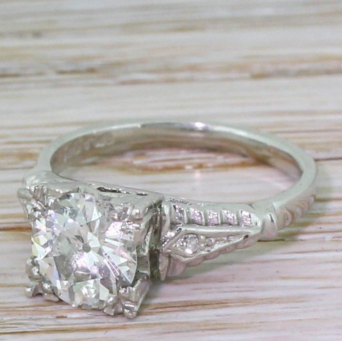 art deco 114 carat old cut diamond engagement ring circa 1925