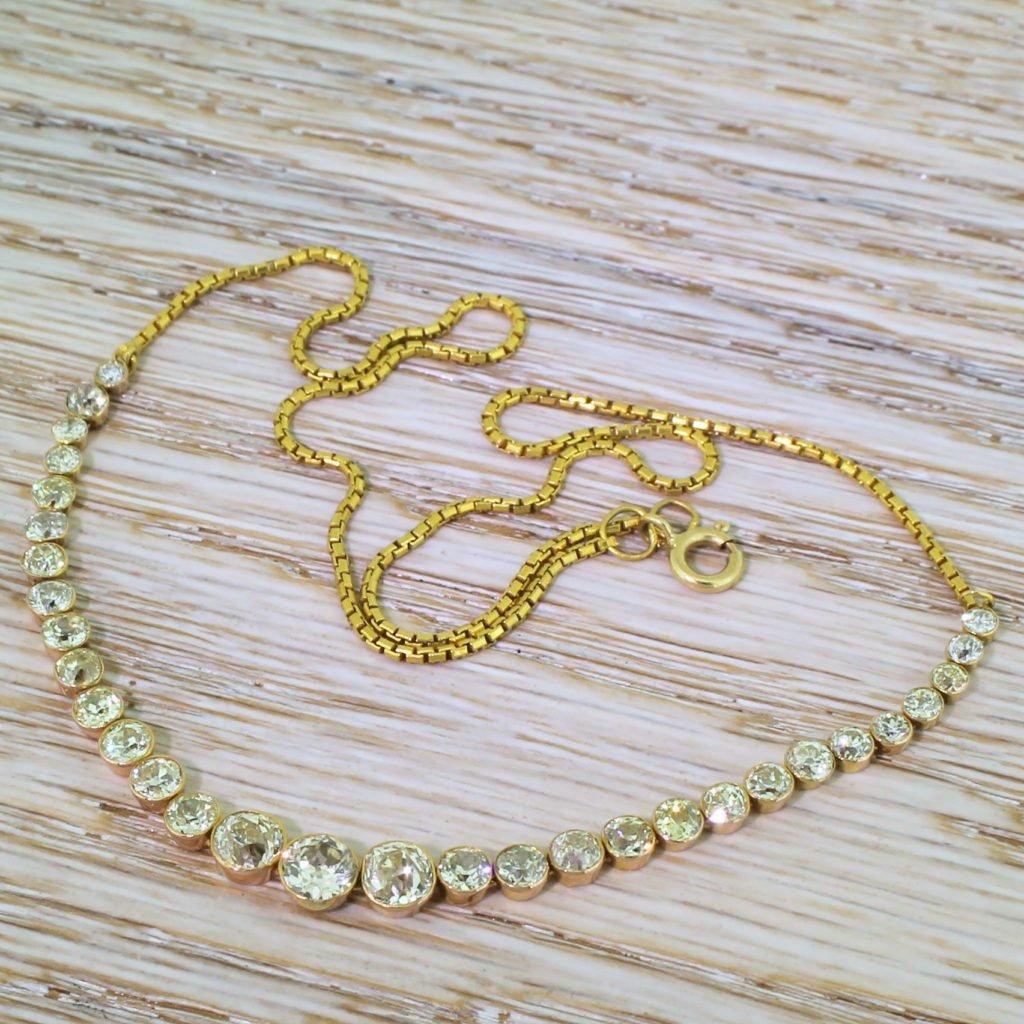 art deco 400 carat old cut diamond line necklace circa 1930