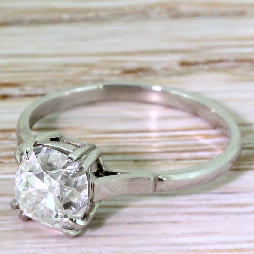 art deco 172 carat old mine cut diamond engagement ring circa 1920