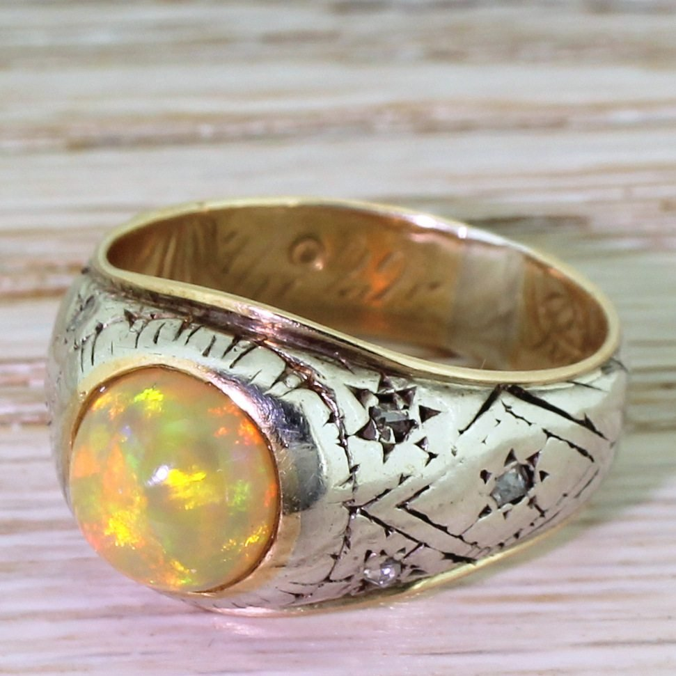 mid century opal solitaire ring circa 1955