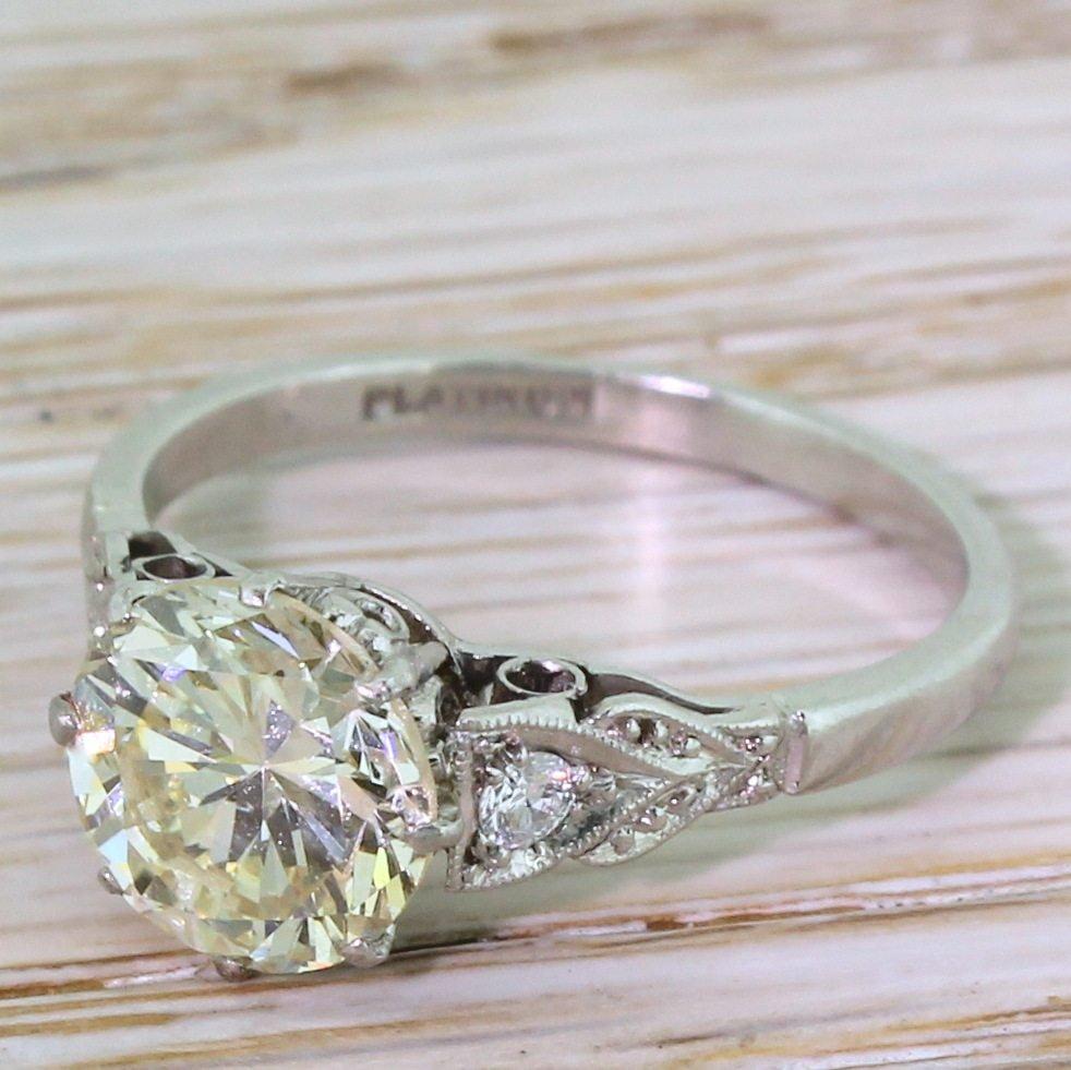 retro 247 carat transitional cut diamond engagement ring circa 1945