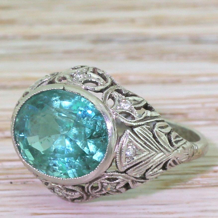 art deco 440 carat minor oil emerald ring dated 1930