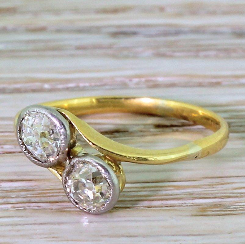 victorian 090 carat old cut diamond crossover ring circa 1870