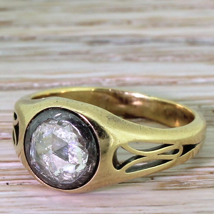 victorian 100 carat rose cut diamond solitaire ring circa 1890