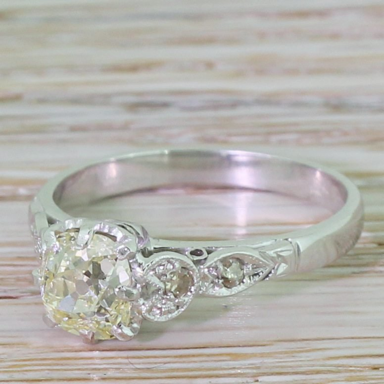 mid century 101 carat light yellow old cut diamond engagement ring circa 1950