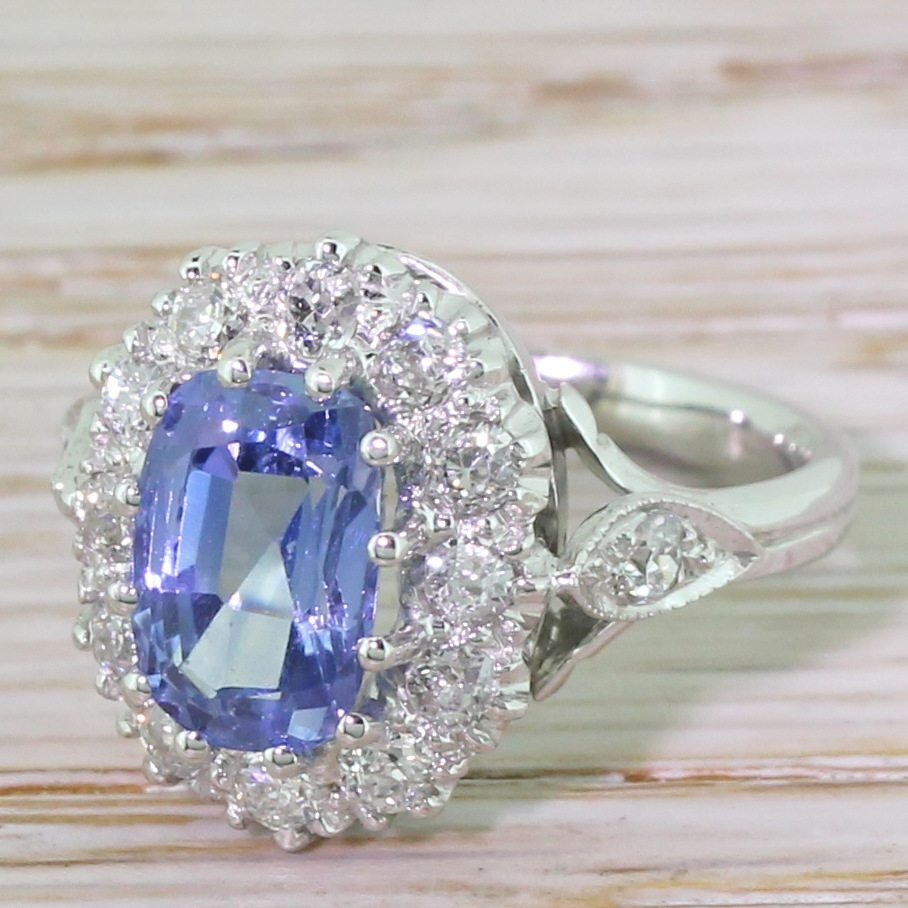mid century natural sapphire 038 old cut diamond cluster ring circa 1960