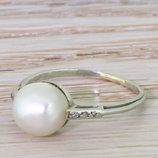 art deco natural saltwater pearl solitaire ring circa 1925