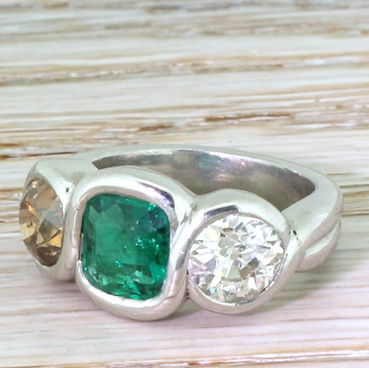 retro emerald fancy orange 038 white old cut diamond three stone ring circa 1945