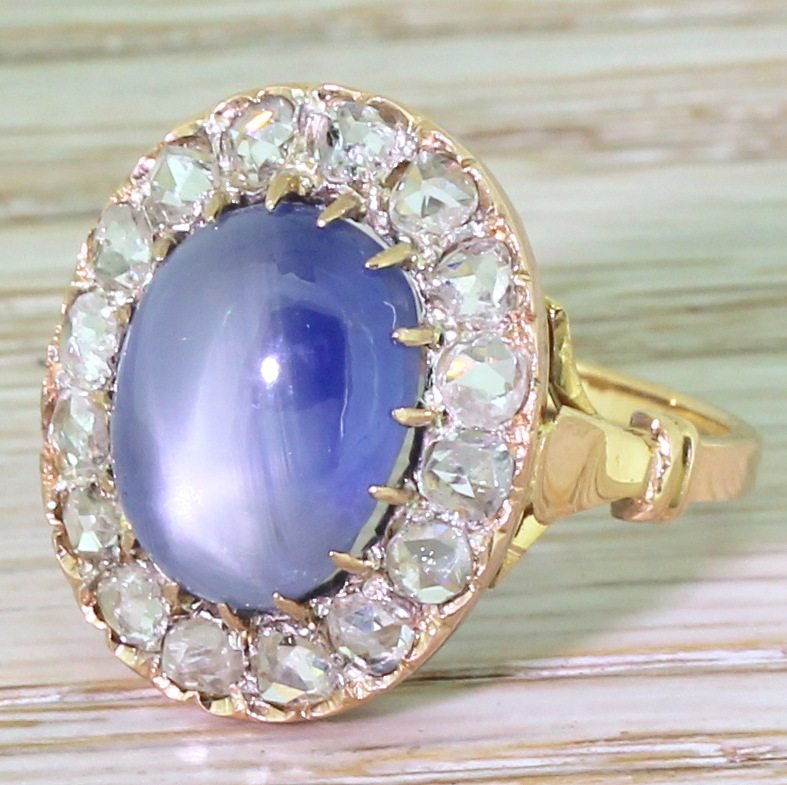 art deco 1045 carat star sapphire 038 rose cut diamond ring french circa 1915
