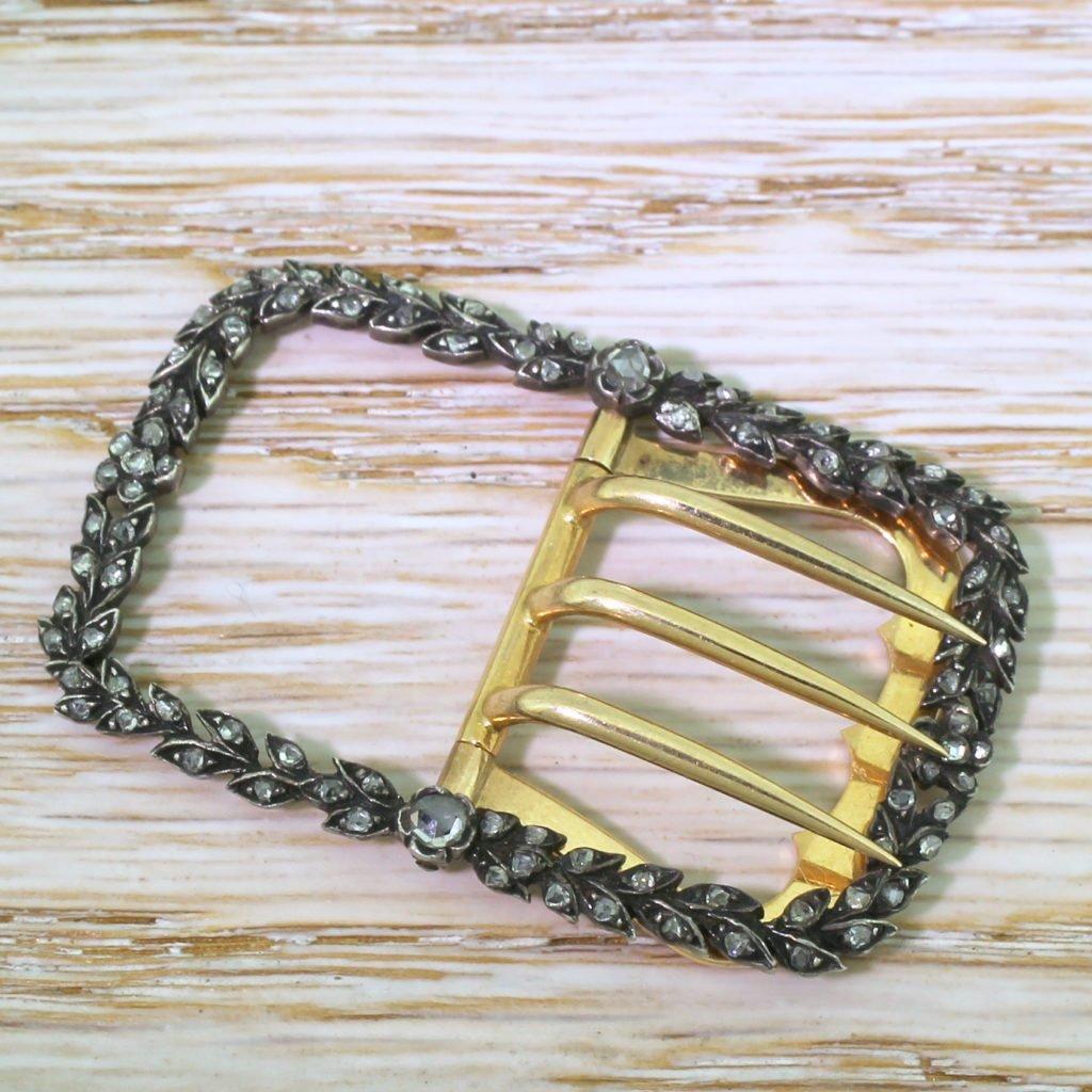 victorian 093 carat rose cut diamond buckle circa 1880