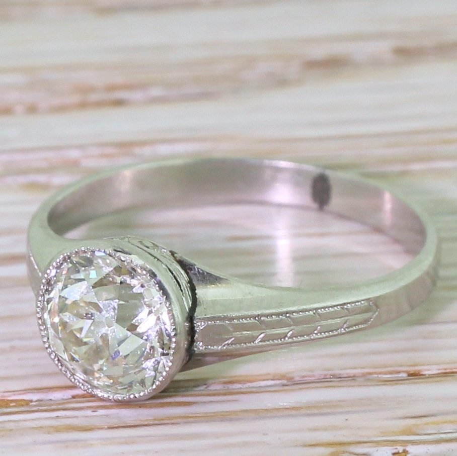 art deco 169 carat old cut diamond engagement ring circa 1920