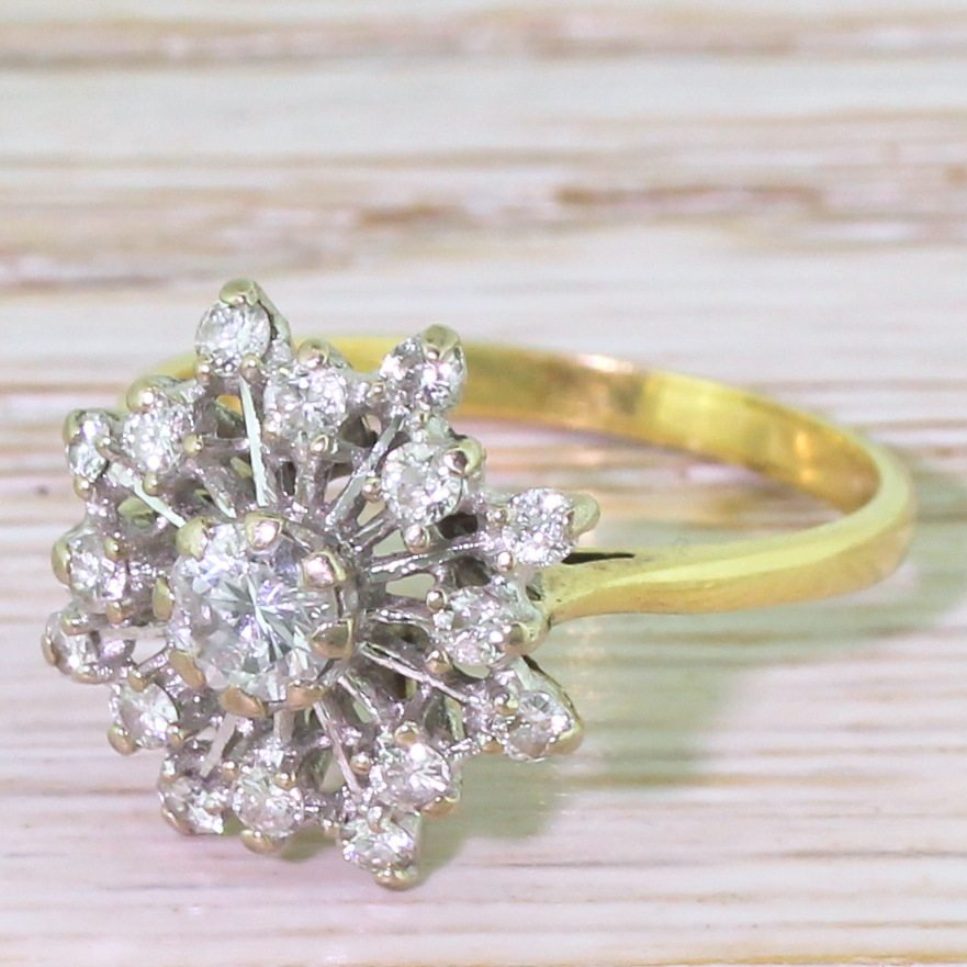 mid century 048 carat brilliant cut diamond 8220starburst8221 ring circa 1965