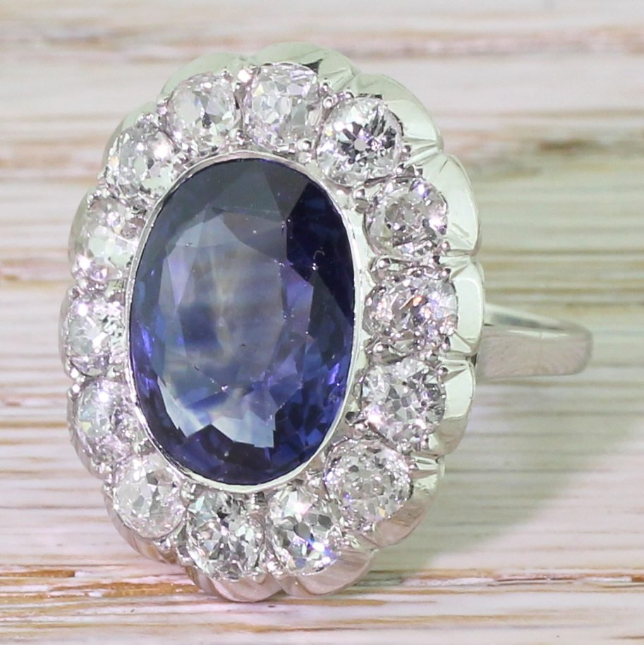 mid century 650 carat natural ceylon sapphire 038 old cut diamond ring circa 1950