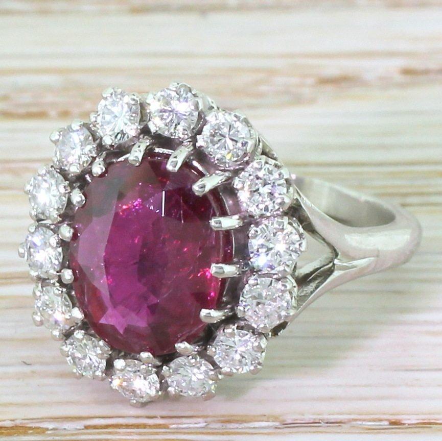 late 20th century 325 carat natural thai ruby 038 diamond ring french circa 1980