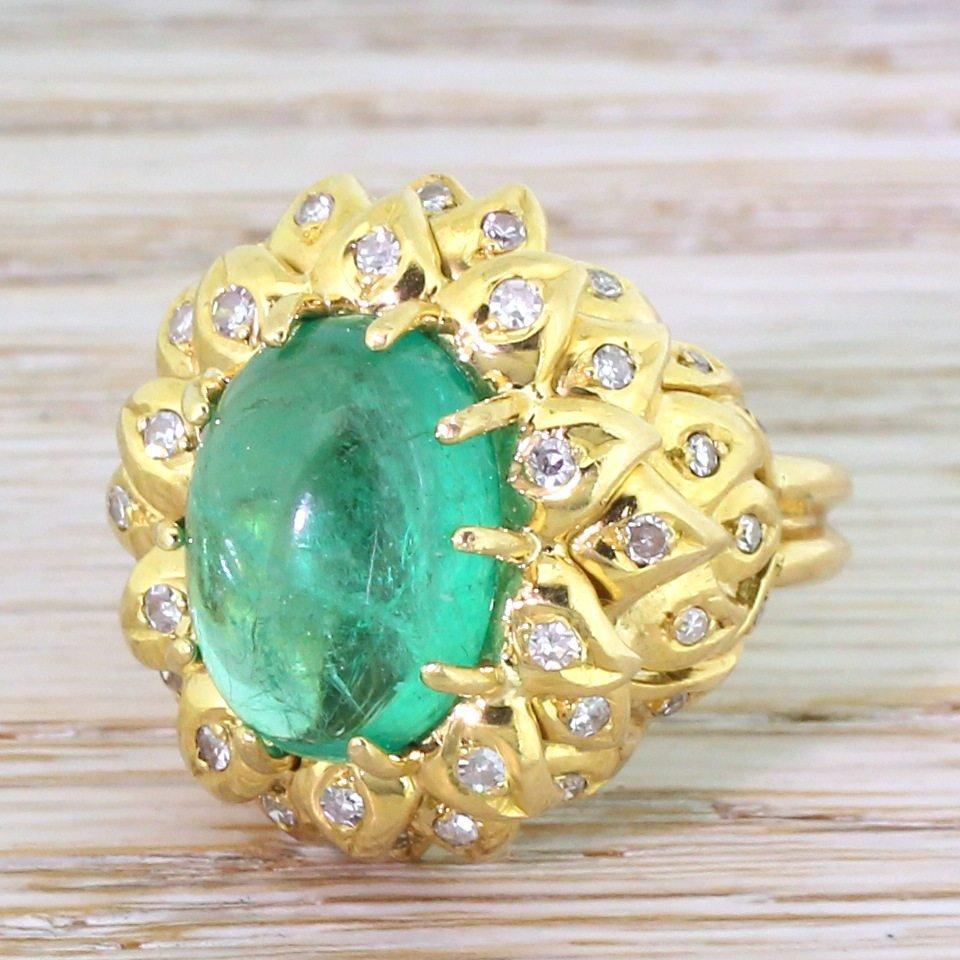 retro 600 carat cabochon colombian emerald 038 diamond ring circa 1945