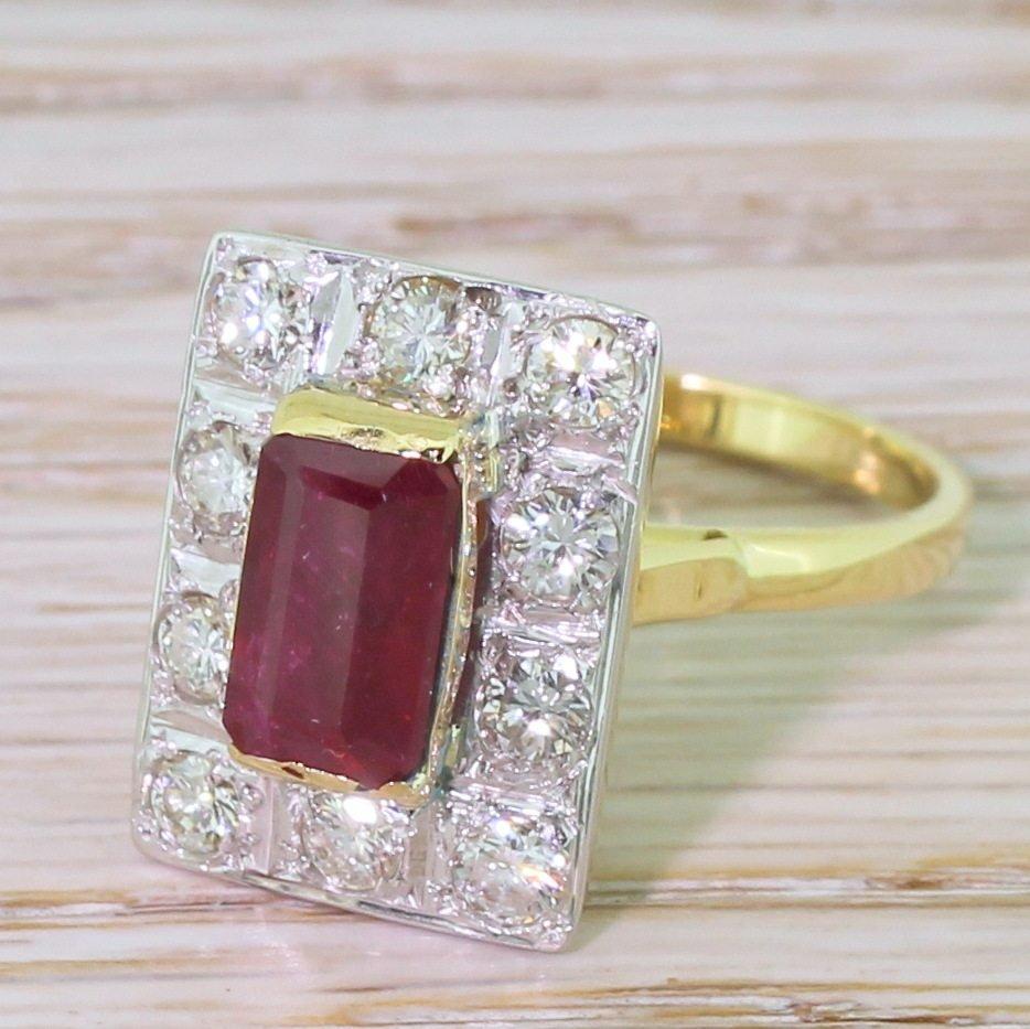 late 20th century 150 carat emerald cut ruby 038 diamond ring circa 1975