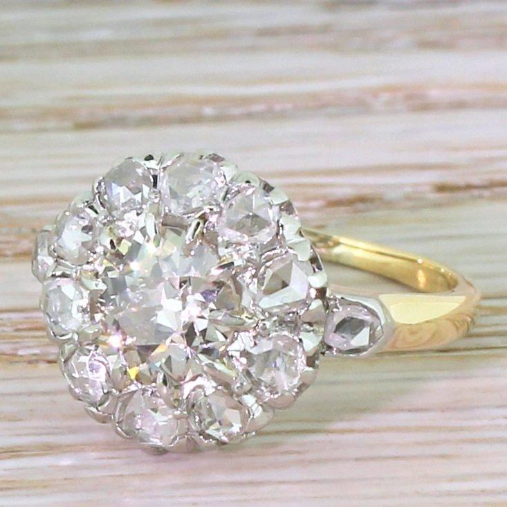 art deco 135 carat old cut 038 rose cut diamond cluster ring circa 1920