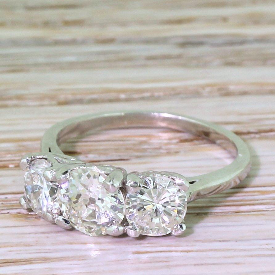 mid century 214 carat old cut diamond trilogy ring circa 1960