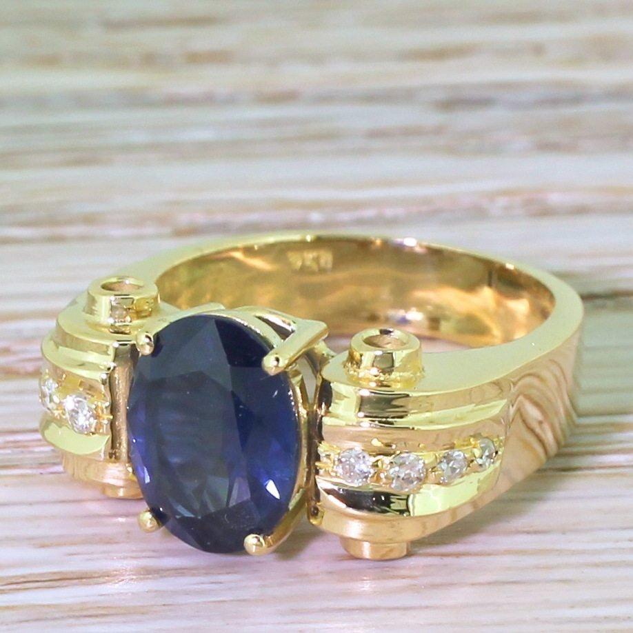 retro 284 carat oval cut sapphire solitaire ring circa 1945