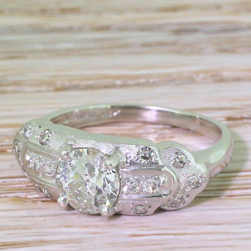 granat bros 097 carat old cut diamond ring american circa 1940