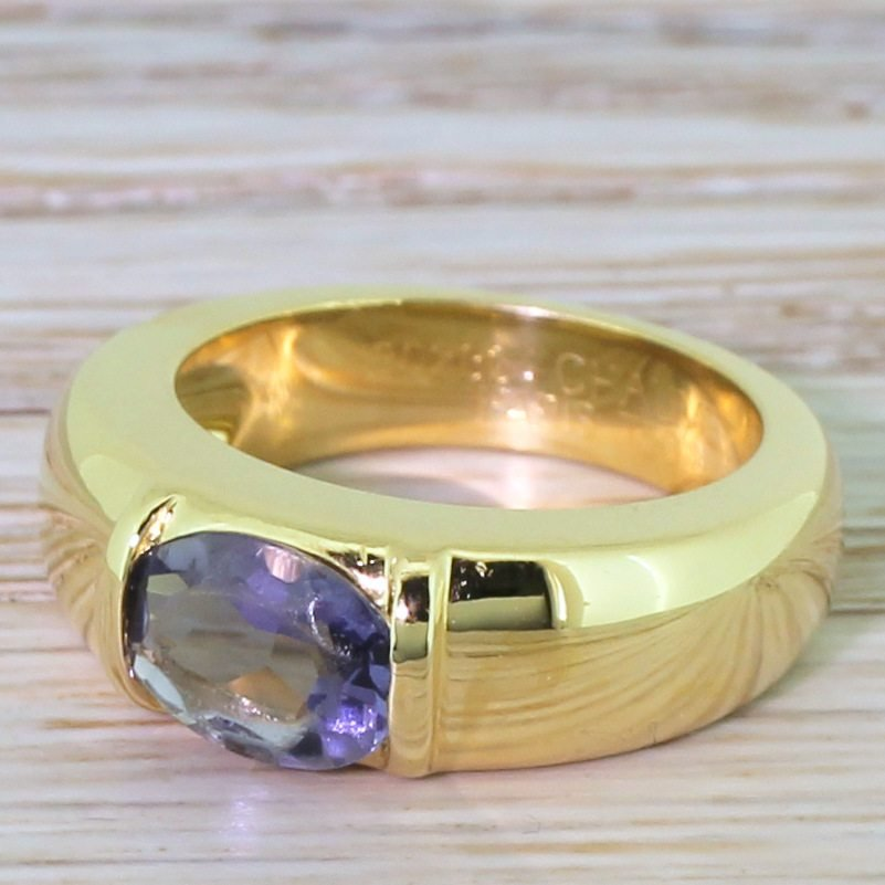 chaumet tourmaline solitaire ring french 18k gold