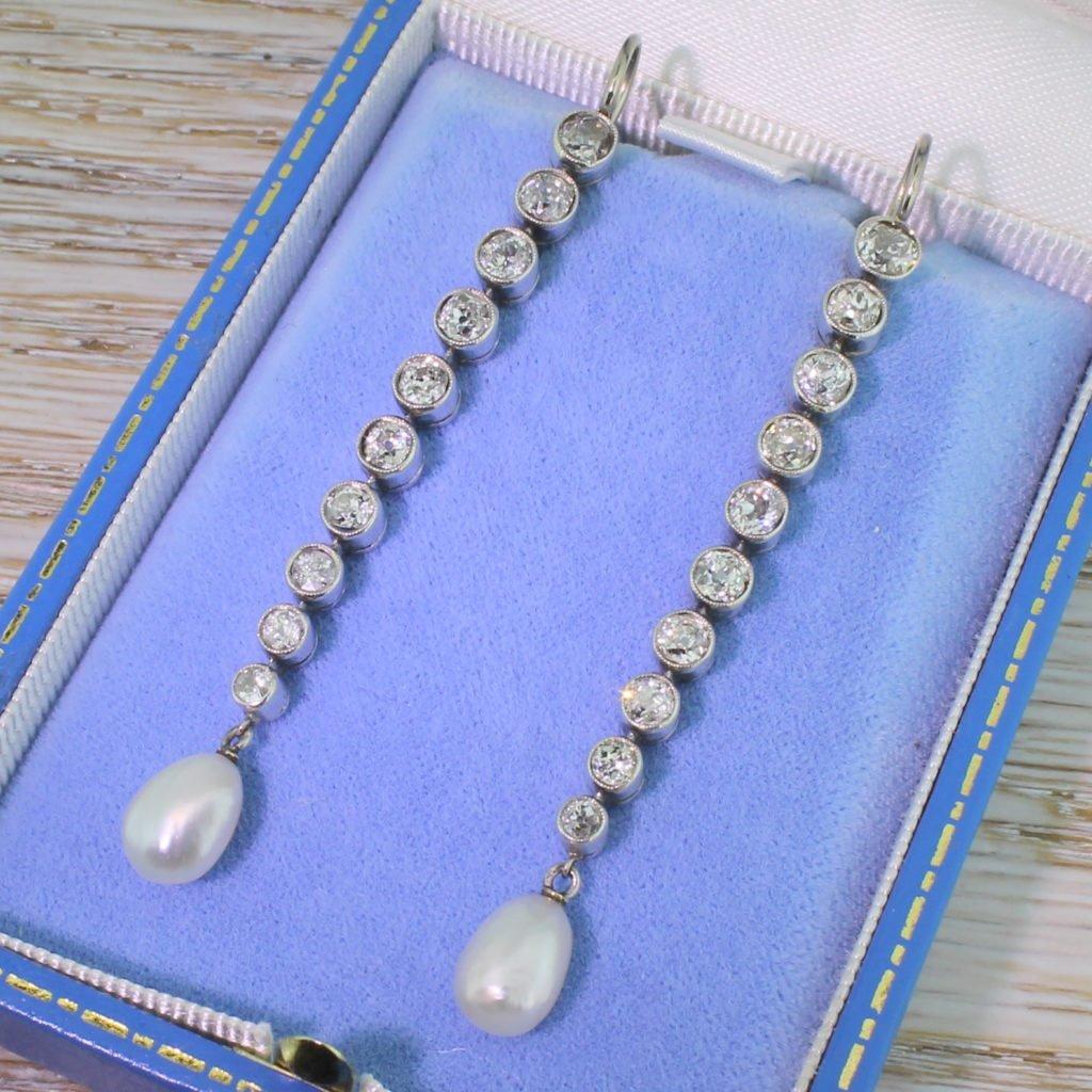 art deco natural pearl amp 370 carat old cut diamond drop earrings circa 1935