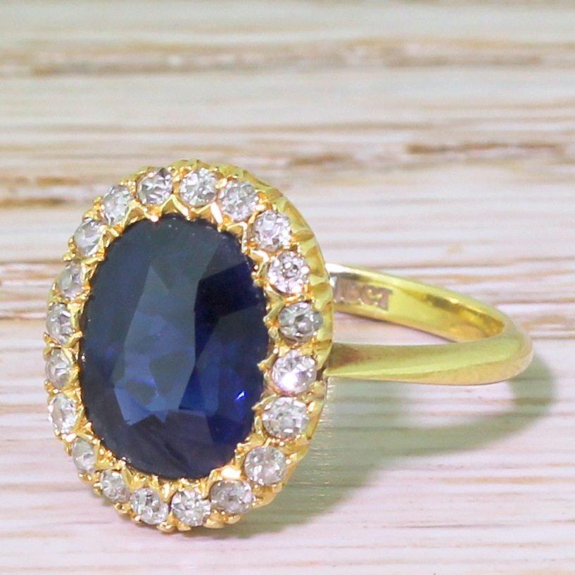 art deco 370 carat natural unheated sapphire 038 diamond cluster ring circa 1945