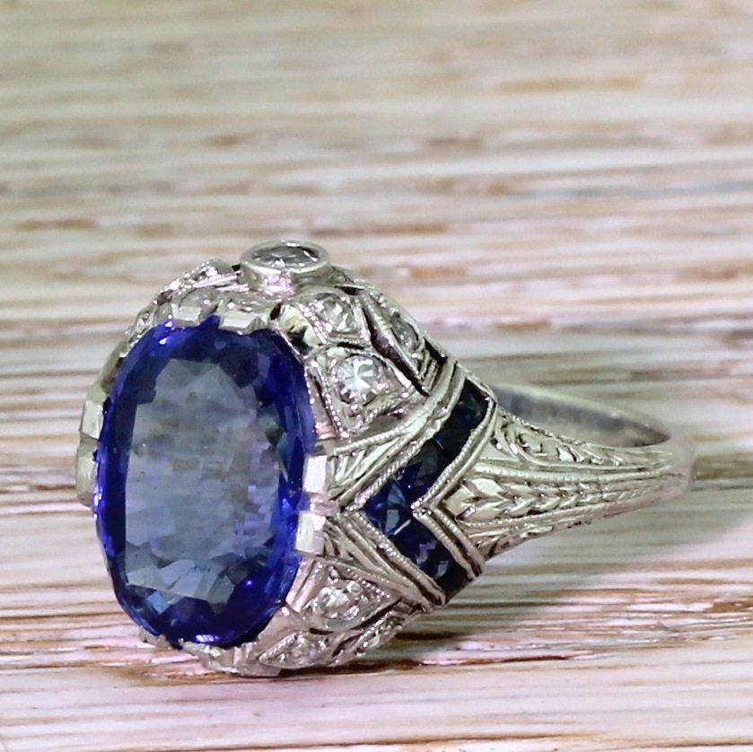 art deco 507 carat natural ceylon sapphire solitaire ring circa 1925