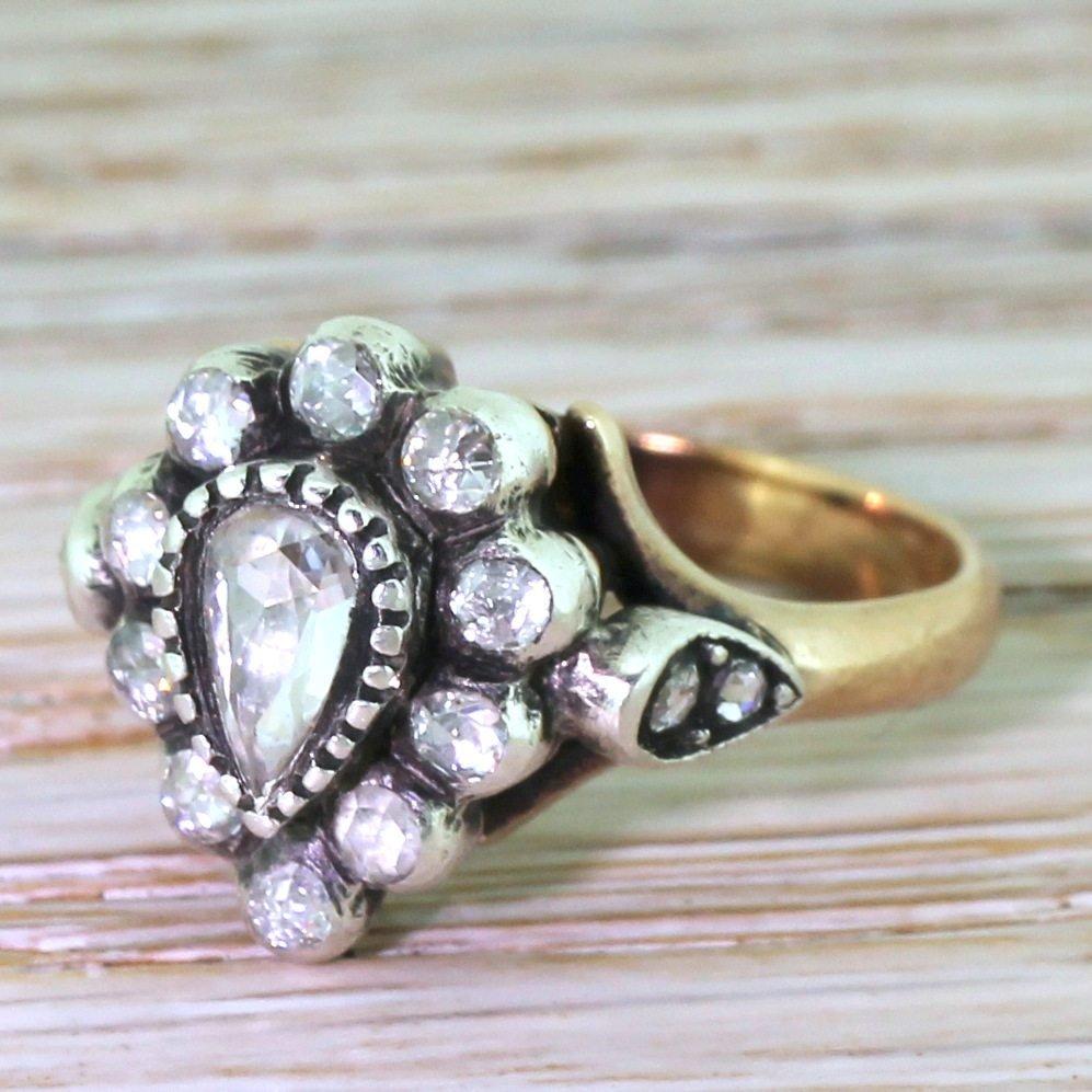 georgian inspired 050 carat rose cut diamond pear cluster ring