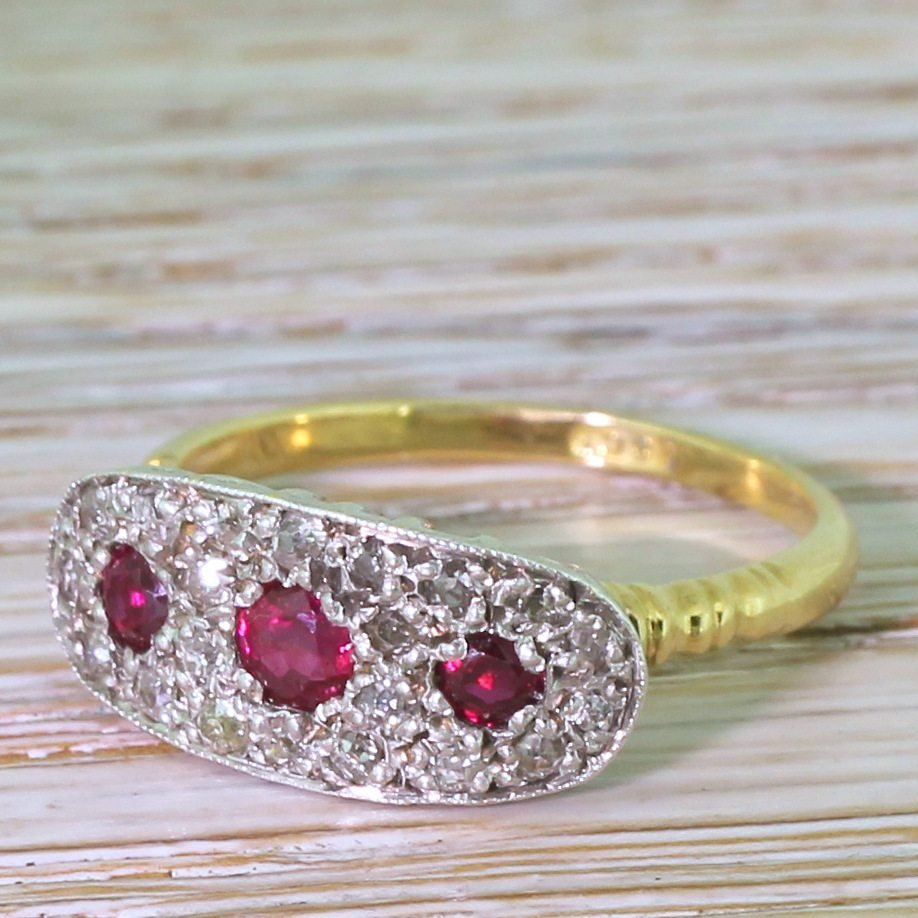 mid century ruby 038 old cut diamond cluster ring circa 1955
