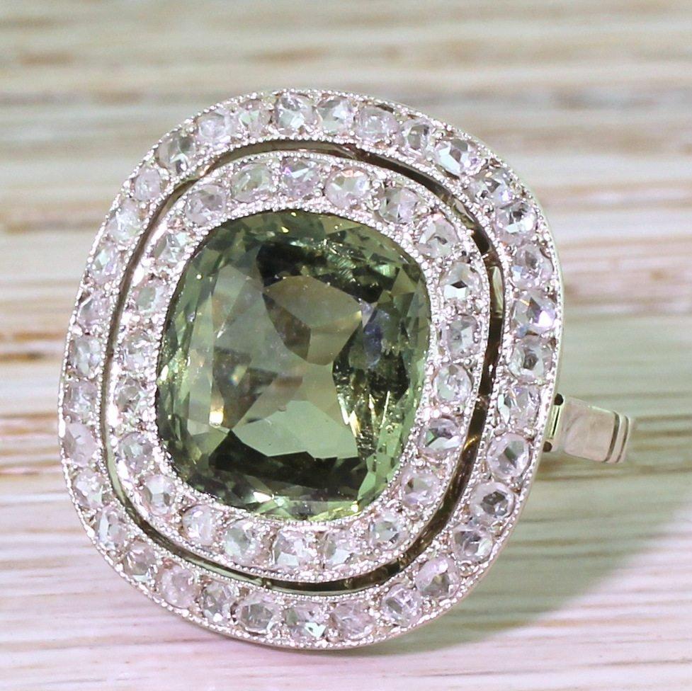 retro 470 carat natural green sapphire 038 rose cut diamond ring circa 1950