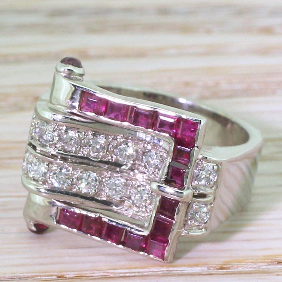 mid century ruby 038 brilliant cut diamond buckle ring circa 1960
