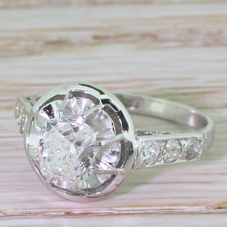 retro 106 carat old cushion cut diamond engagement ring circa 1925