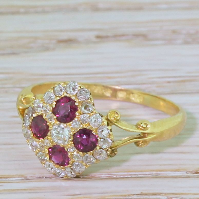edwardian ruby 038 old cut diamond cluster ring circa 1905