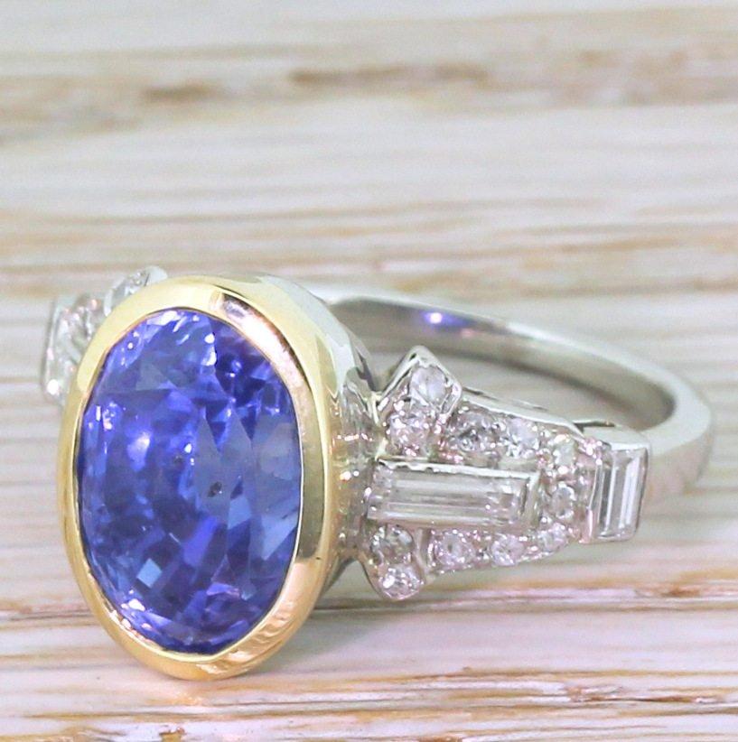 art deco 729 carat natural ceylon sapphire 038 diamond ring circa 1935