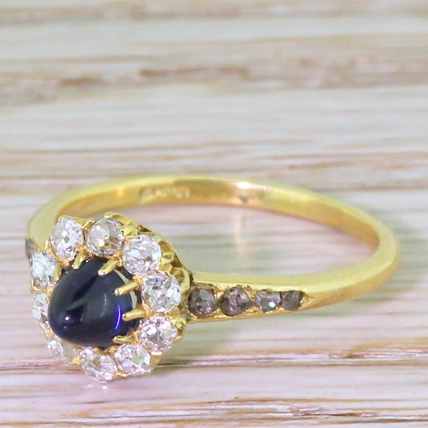 victorian sugarloaf sapphire 038 old cut diamond cluster ring circa 1900