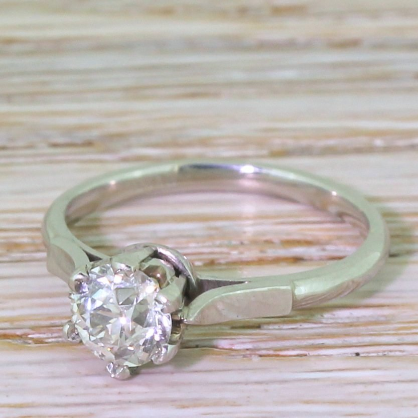 art deco 082 carat old cut diamond engagement ring circa 1935