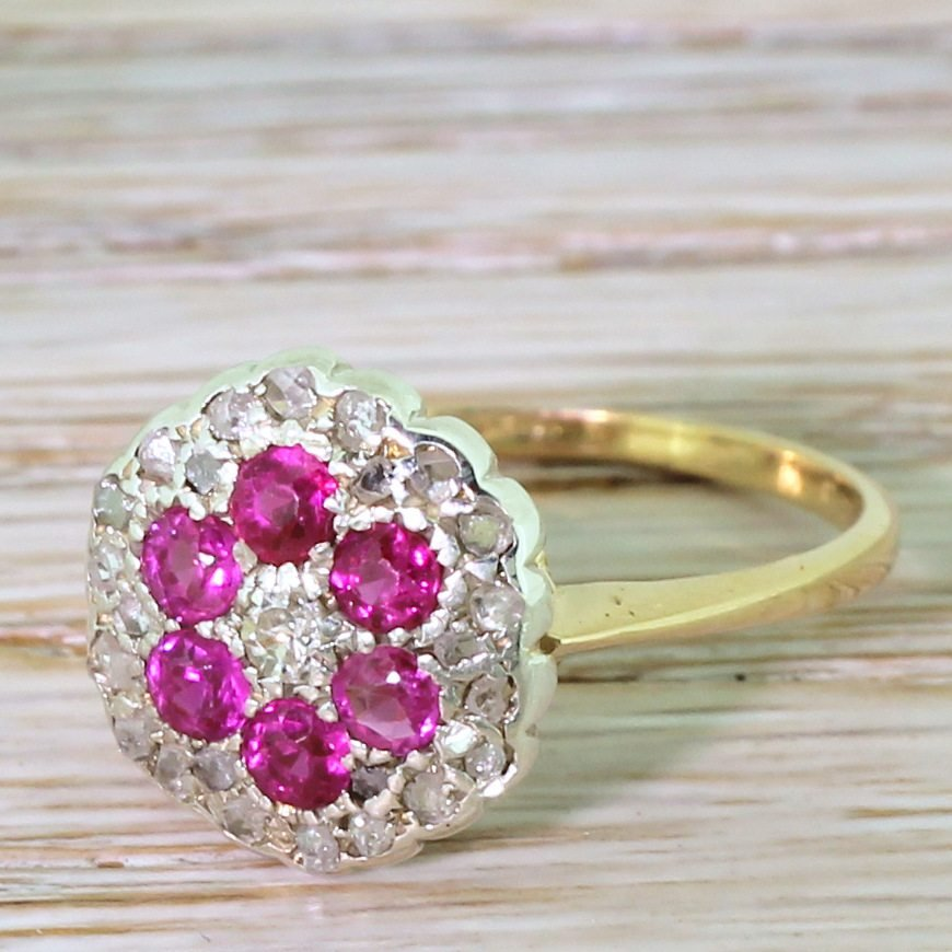 mid century ruby amp diamond cluster ring circa 1965